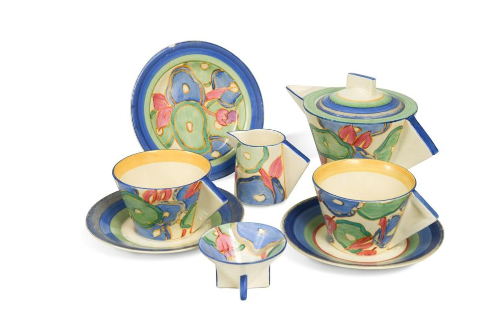 Blue Chintz, a Clarice Cliff Bizarre Conical tea set for two,