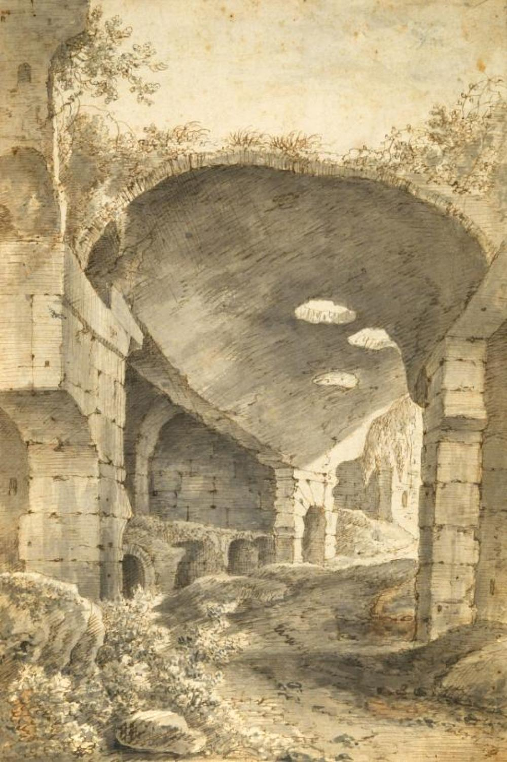"Attributed to Johann Franz Ermels (German, 1641-1693) View of a classical archway, possibly the Colosseum inscribed in ink ""Ermels ...."