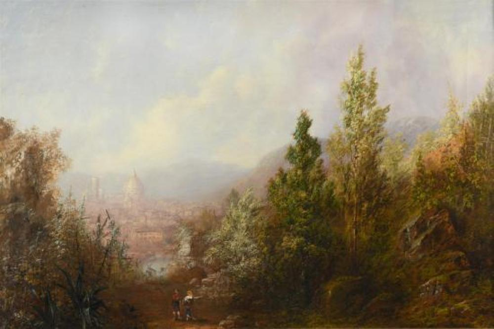 Sydney Herbert (British, 1854-1914) View of Florence from the hills signed and titled to the reverse