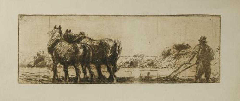 Harry Becker (British, 1865-1928) Heavy horses ploughing 18 x 38cm (7 x 15in); 17 x 31 cm (6.5 x 12in)