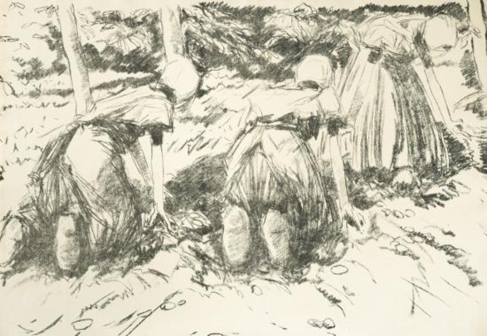 Harry Becker (British, 1865-1928) Potato Harvest, Holland, lithographs (2), 25 x 30 cm (10 x 12in) and 39 x 56 cm (15.5 x 22in); An...