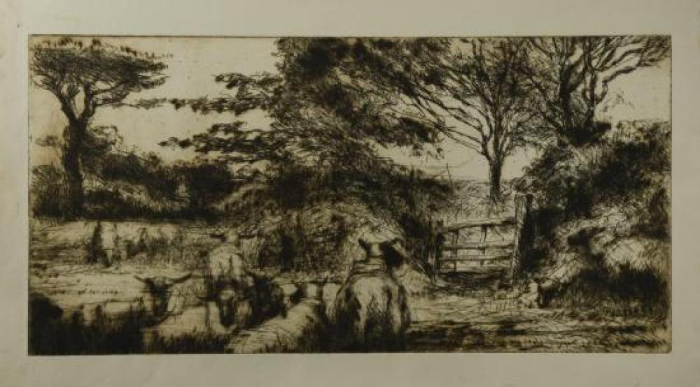 Harry Becker (British, 1865-1928) Sheep by a gate etchings, two states of the same subject, one with a lithograph of potato harvest...