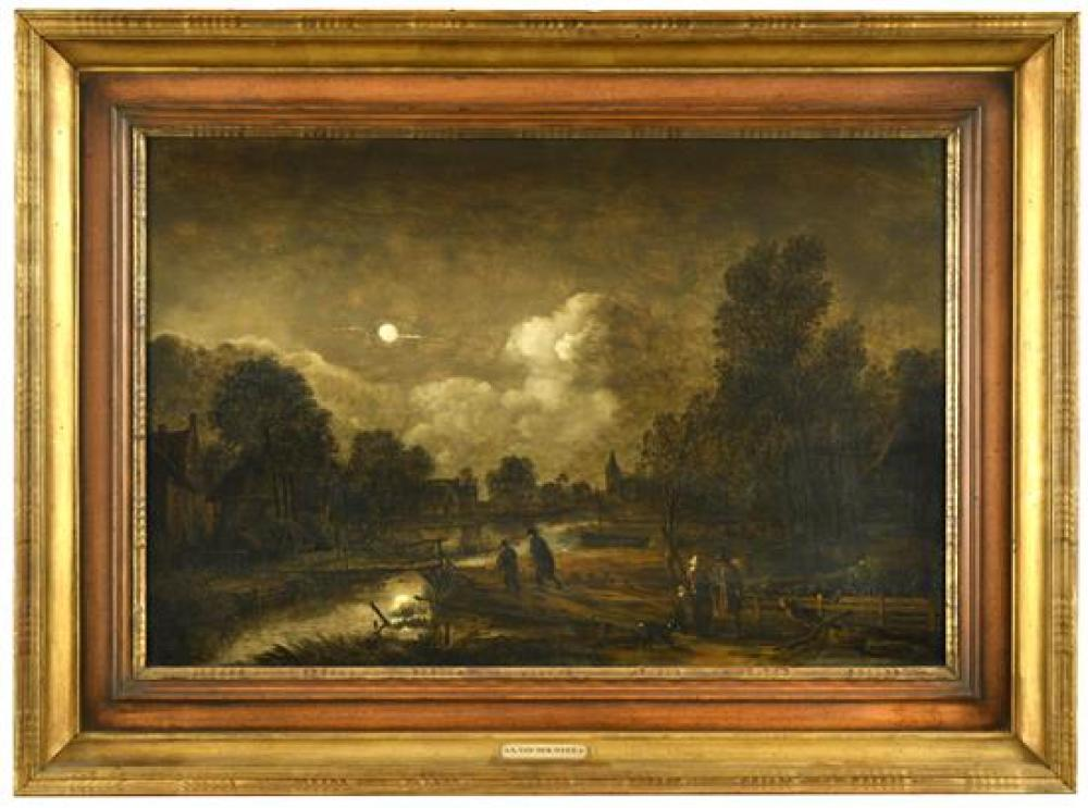 Attributed to Aert van der Neer (Dutch, 1603/4-1677) A Landscape at moonlight with a village stream with figures and a church in the...