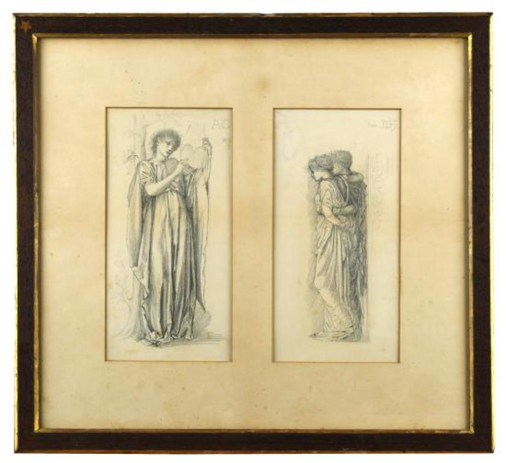 Sir Edward Coley Burne-Jones, Bt., ARA, RWS (British, 1833-1898) Hymen, the goddess of marriage holding a harp; A Married couple bei...