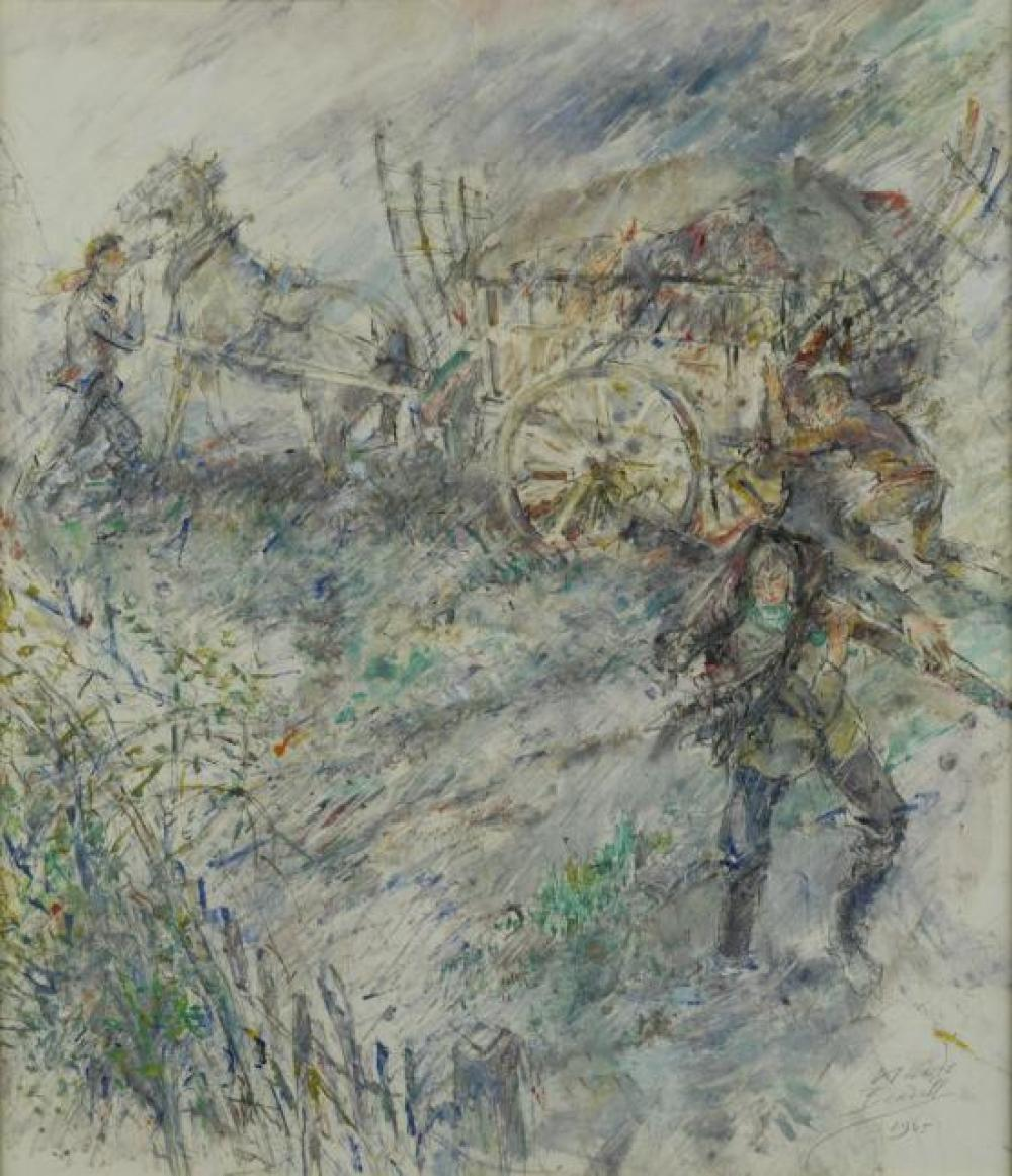 "§ Claude Bendall (British, 1891-1970) Farm labourers in a windswept landscape with a horse and cart signed and dated lower right ""Cl..."