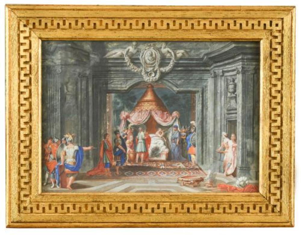 French School, circa 1700  Judith and her handmaiden with the head of Holofernes, with sleeping guards in an architectural setting;...