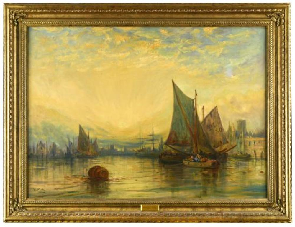 "William Edward Webb (British, 1862-1903) Sailing ships in harbour signed ""W Webb"" lower left"