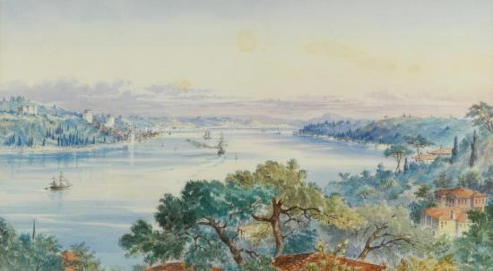"Mary K Ward (British, 19th Century) Views of the Bosphorus, Turkey one signed lower right ""M K Ward 1872"""