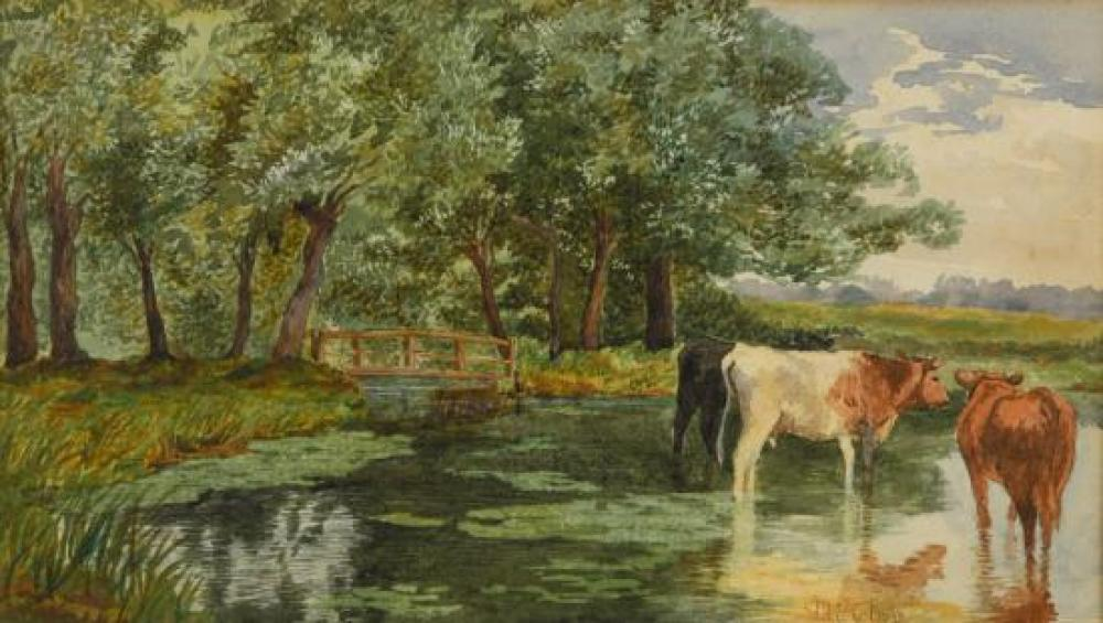 "Miles Edmund Cotman (British, 1810-1858) Cattle at Thorpe St Andrew, Norfolk signed lower right ""M E Cotman"""