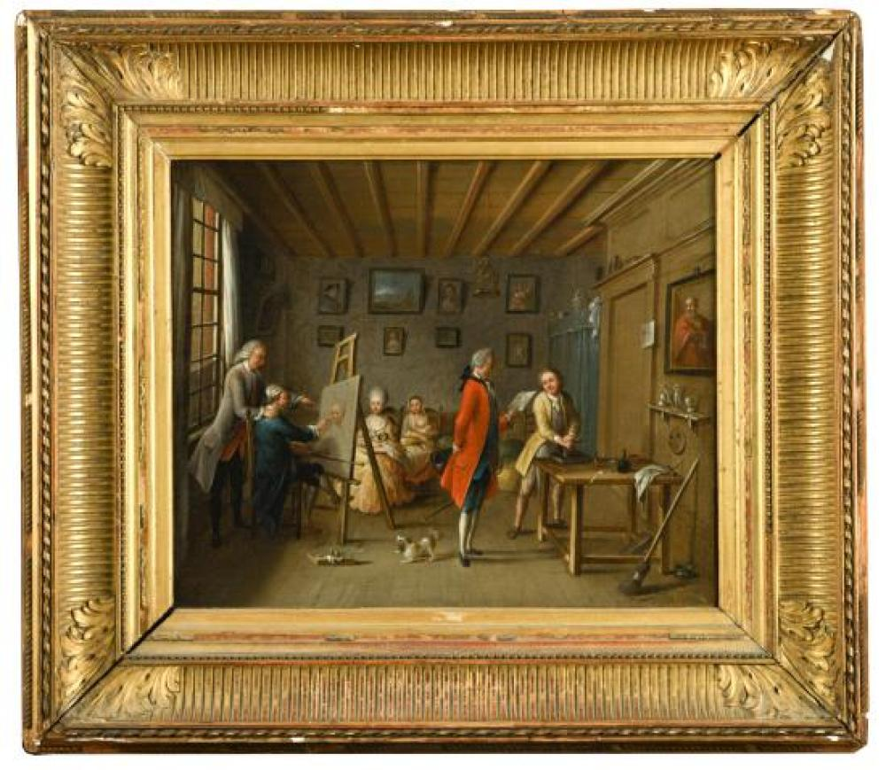 Danish School, 18th Century The interior of an artist's studio, a portrait painter at his easel, the sitter beyond with her small do..