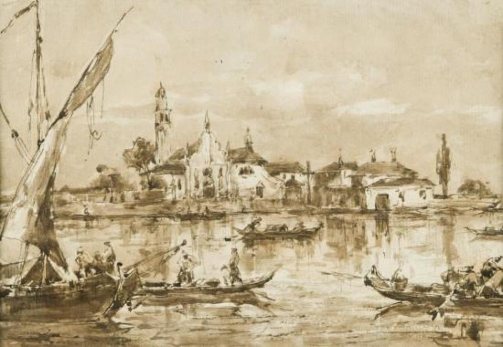 Follower of Francesco Guardi (Italian, 1712-1793) View on the Brenta, Venice, with figures in a boat and a church beyond
