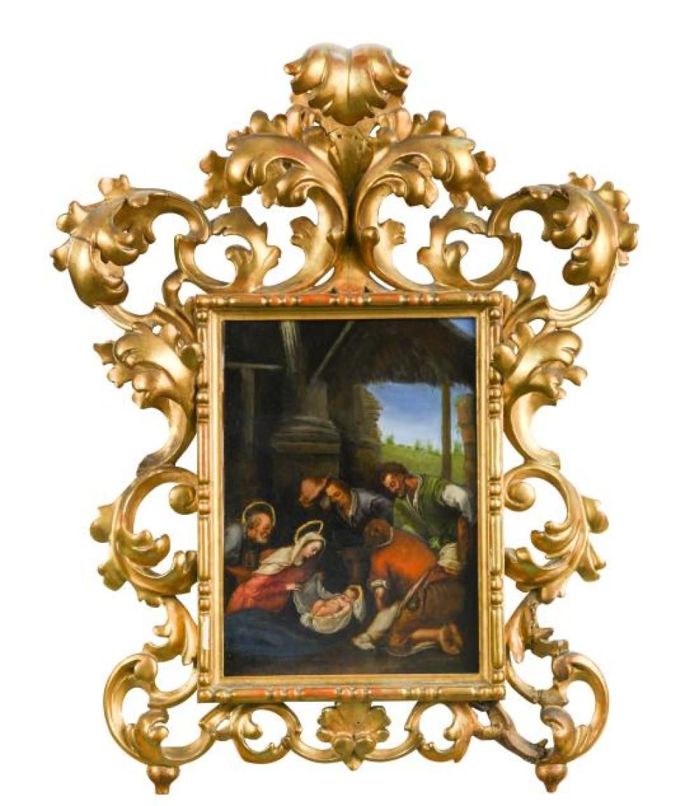 Follower of Scarsellino, late 16th-early 17th Century - The Adoration of the Shepherds   - oil on copper
