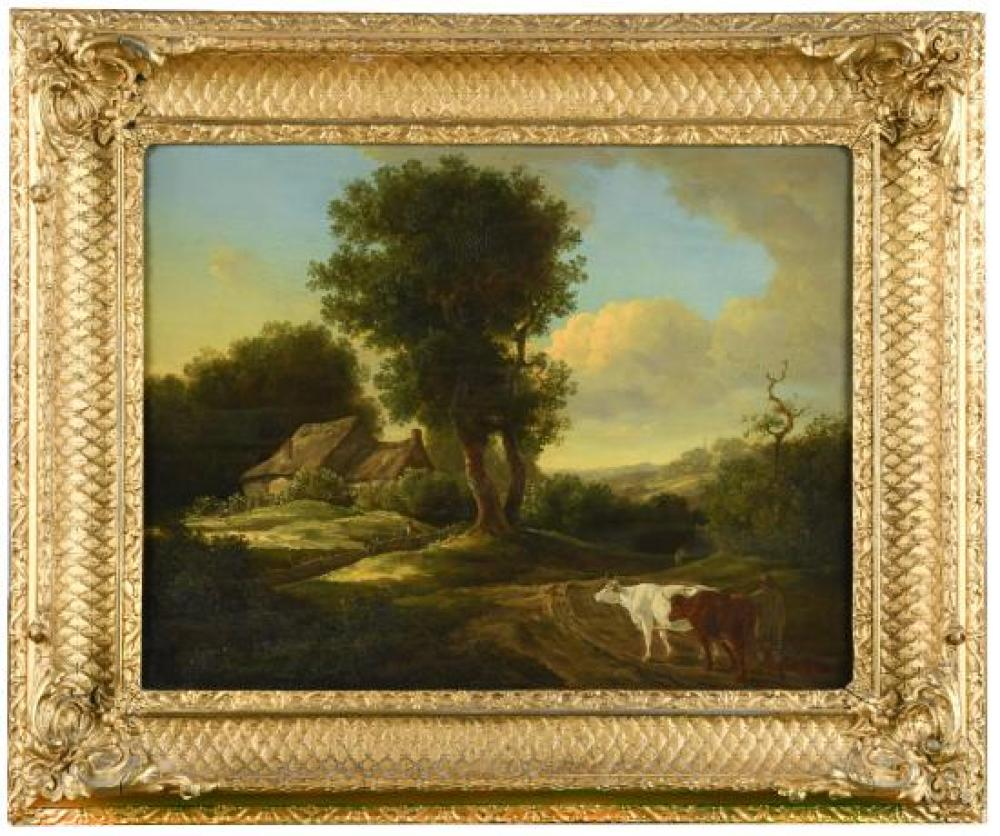 Follower of Alexander Nasmyth (Scottish, 1758-1840) A herdsman with cattle on a country lane
