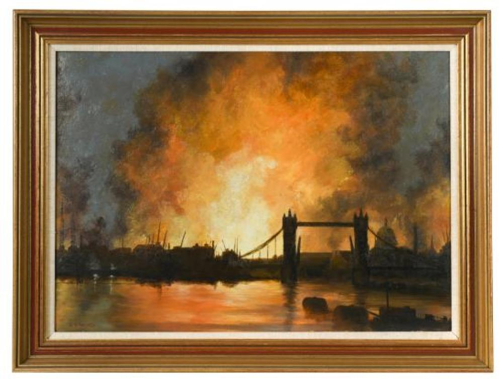 "Wilfred Stanley Haines (British, 1905-1944) The Blitz over Tower Bridge, St Paul's and the Thames, London signed lower left ""W S Hai.."
