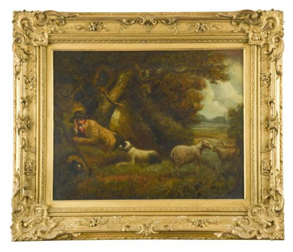 Circle of George Morland (British, 1763-1804) A shepherd resting on a mossy bank, his collie and sheep beside him