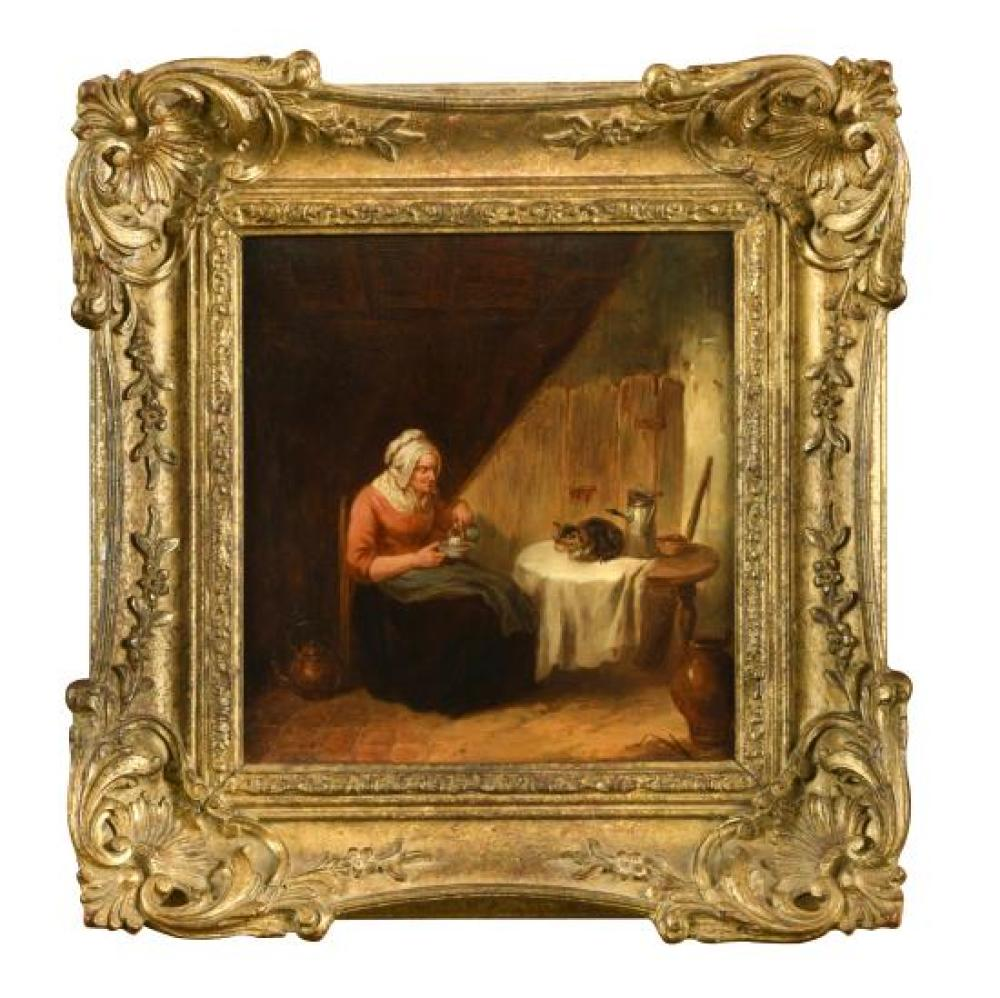 Follower of Richard Morton Paye (English, 1750-1821) A grandmother pouring milk for her cat in an interior signed lower left with in...