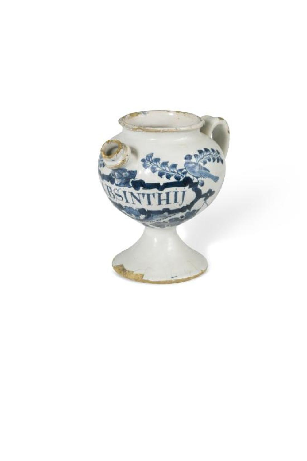 An early 18th century English Delft blue and white wet drug jar, probably Lambeth,