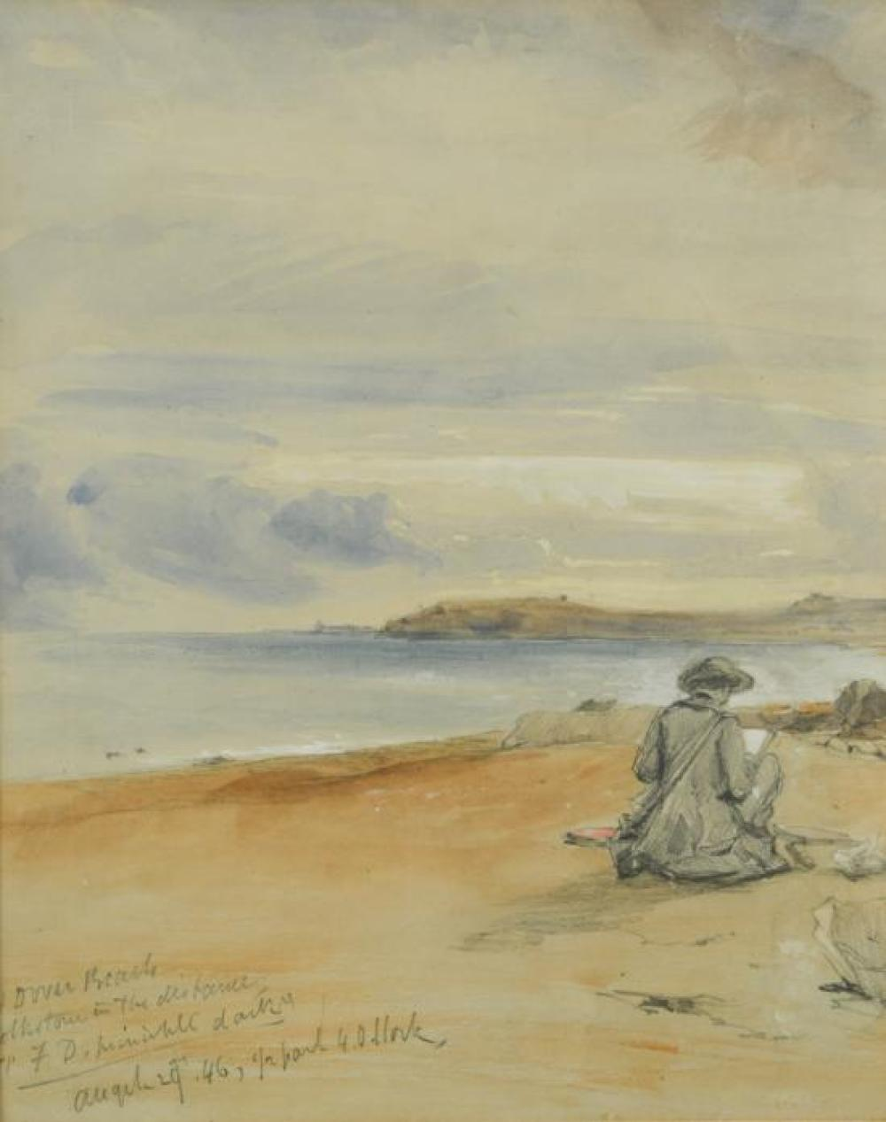 William Callow, RWS, FRGS (British, 1812-1908) Self-portrait of the artist, sketching on Dover Beach on his honeymoon, 1846 inscribe...