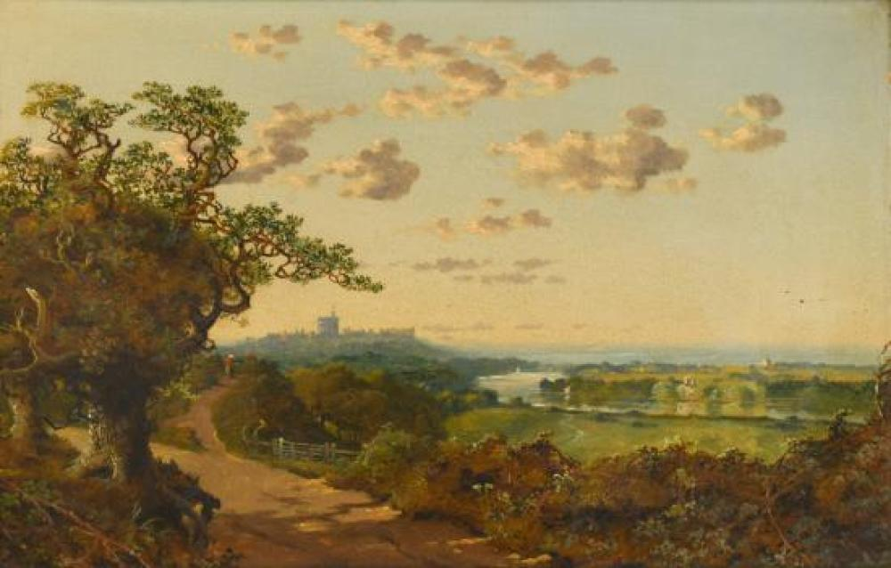 "Edward H Niemann (British, fl.1863-1887) Landscape with Windsor Castle in the distance signed ""Niemann"" lower centre"