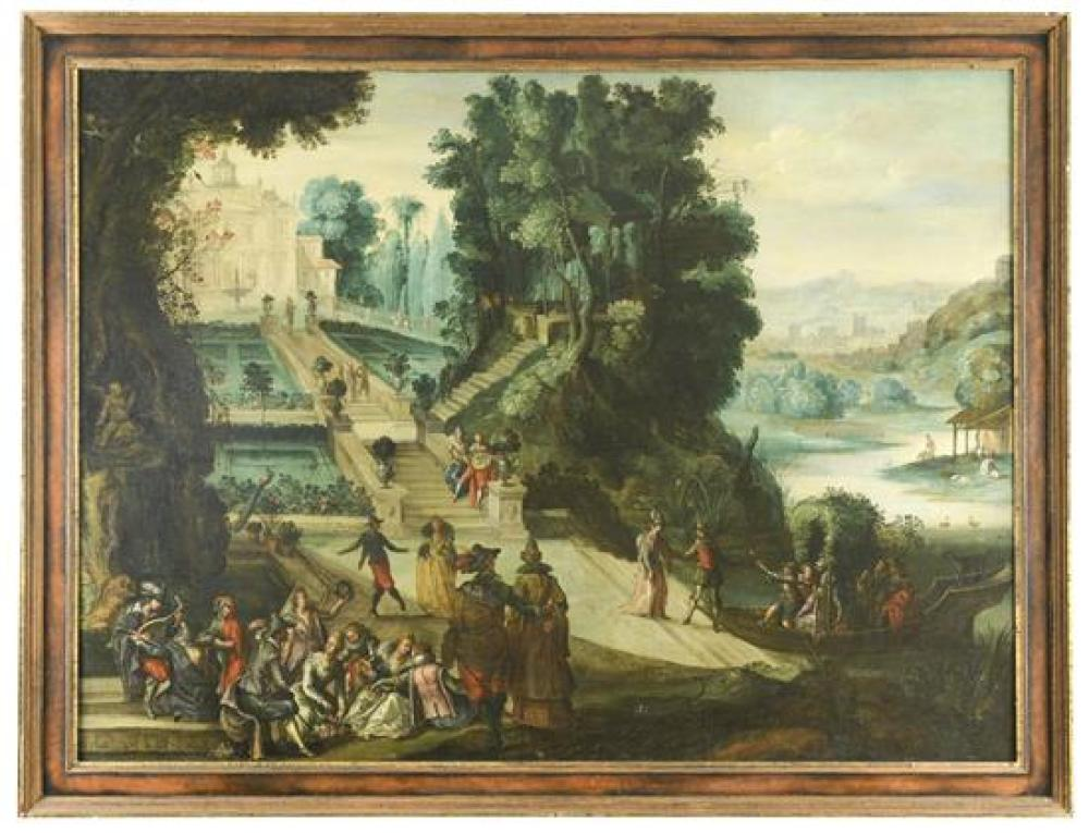 *Circle of Louis de Caullery (Flemish, 1555-1622) Landscape with elegant company within a palace garden