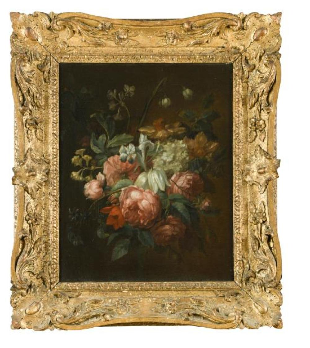*French School, second half of the 18th Century -  A bunch of flowers including roses, iris, daffodils and a white fritillary