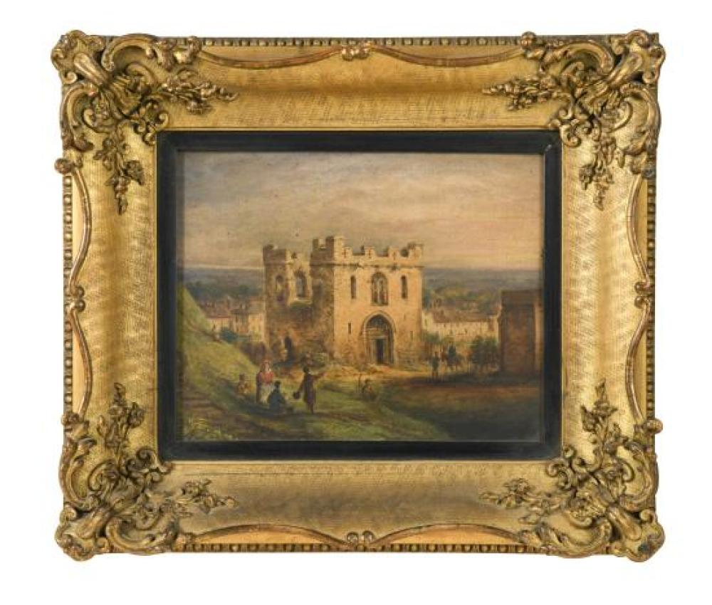 "English School, 19th Century The Gateway to Cambridge Castle, Cambridge inscribed verso ""sketched and painted on the spot as it appe..."