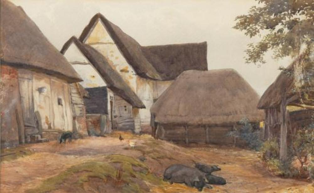 William Henry Hunt, OWS (British, 1790-1864) Berkshire Pigs in a farmyard
