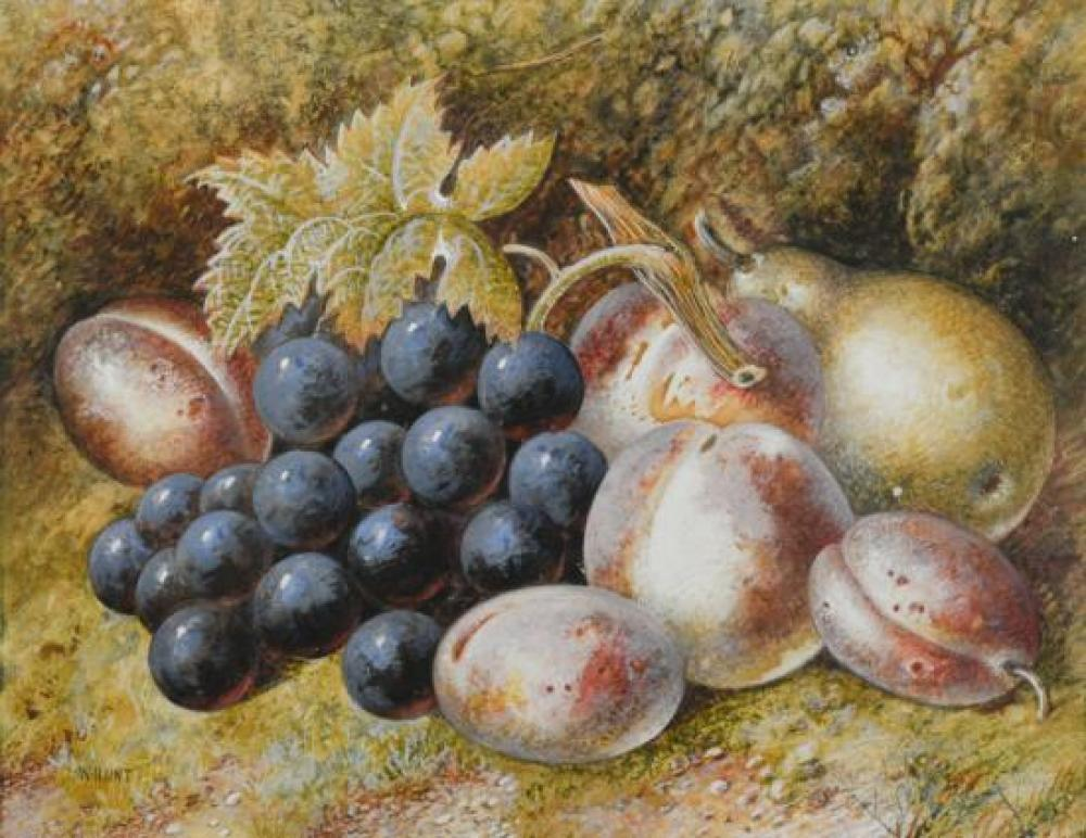 "William Henry Hunt, OWS (British, 1790-1864) Still life of grapes, plums and pears signed lower left ""W Hunt"""