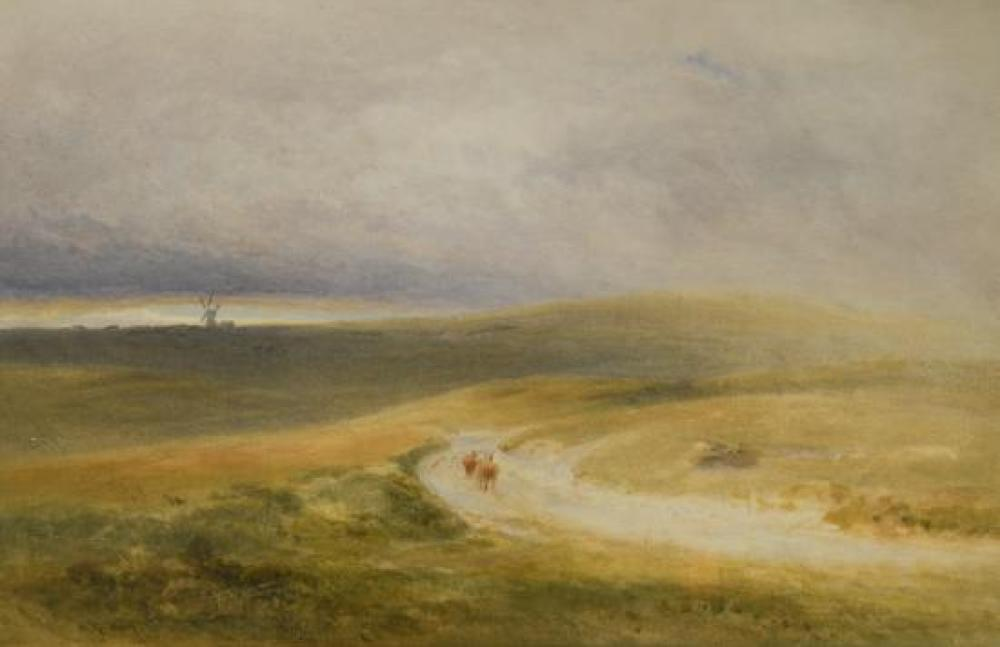 "Henry George Hine (British, 1811-1895) Cattle on a drover's track signed lower left ""H G Hine"""