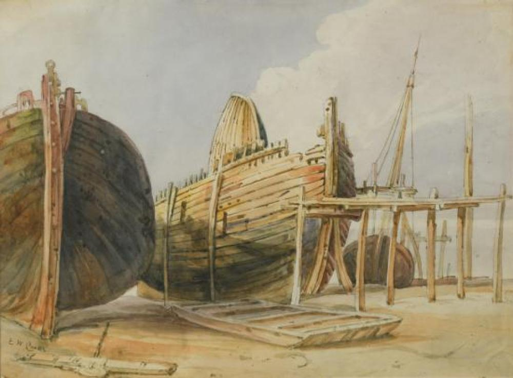 "Edward William Cooke (British, 1811-1880) Fishing boats at Whitstable, signed lower left ""E W Cooke"" and on paper watermarked ""Rust..."
