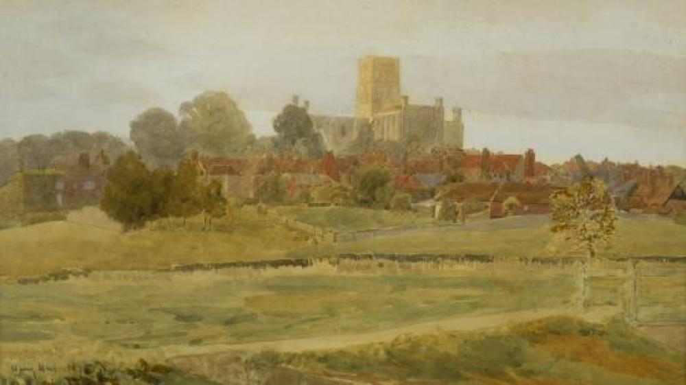 "Henry William Hine (British, 1845-1941) - St Albans Abbey, Hertfordshire, from Sopwell, signed lower left ""Harry Hine 1875""; and Henry"