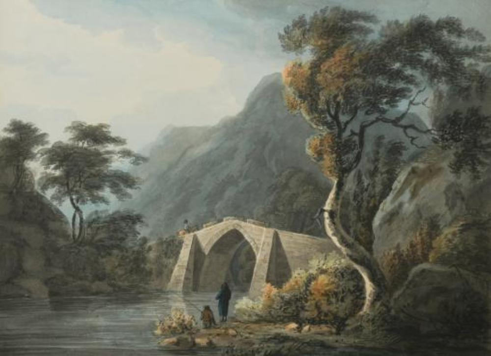 William Payne (British, 1760-1830) On the Yealm, Devon, with fishermen in the foreground and a herder and cattle crossing a bridge