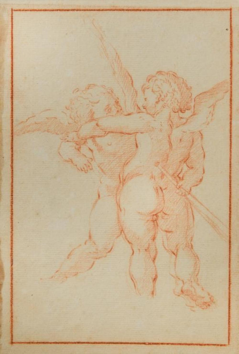 Italian School, 17th Century Putti embracing; A Hand holding a staff