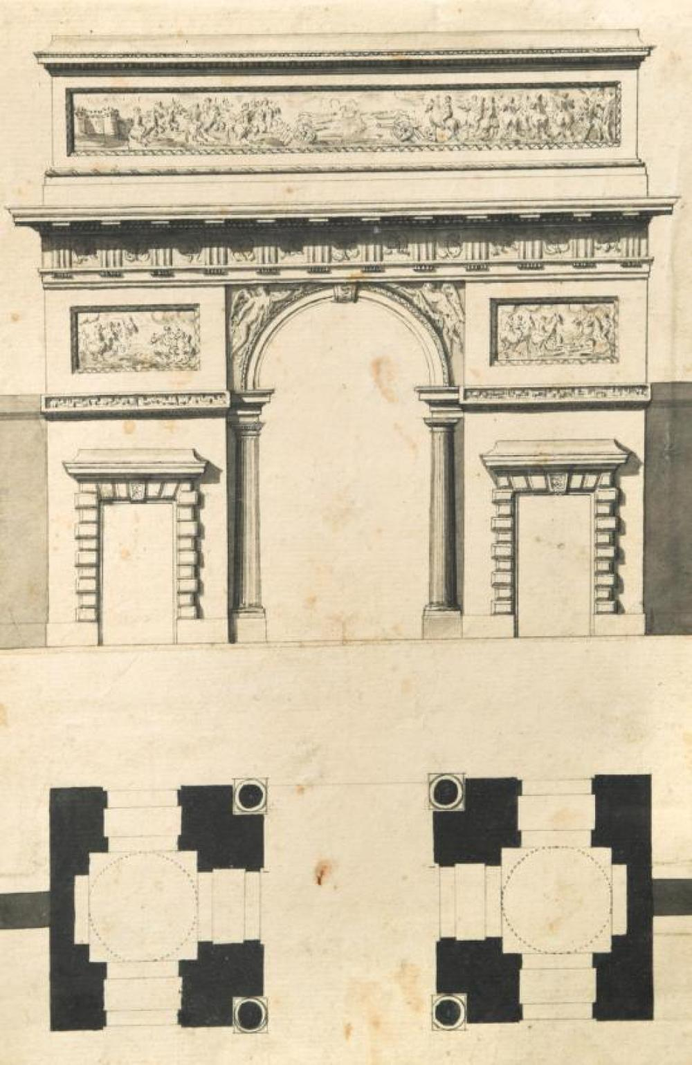 French School, 18th Century Study of a Triumphal Arch - an architectural design and elevation, with reliefs of military scenes and i...
