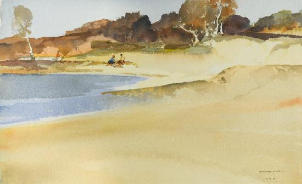 "§ Sir William Russell Flint, RA, PRWS, RSW (Scottish, 1880-1969) Sketching at Frensham, Surrey signed lower right ""W Russell Flint 1..."