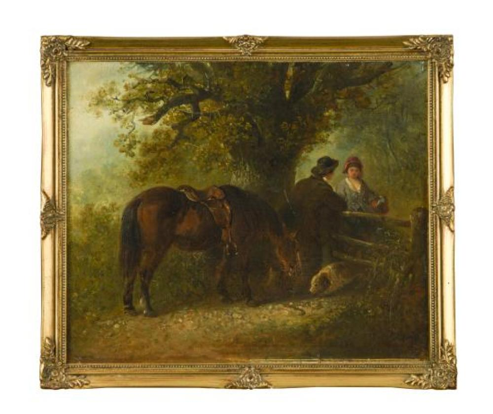 "Edward Robert Smythe (British, 1810-1899) A farmer and his pony and dog talking to a maidservant by a gate signed with initials ""ERS..."