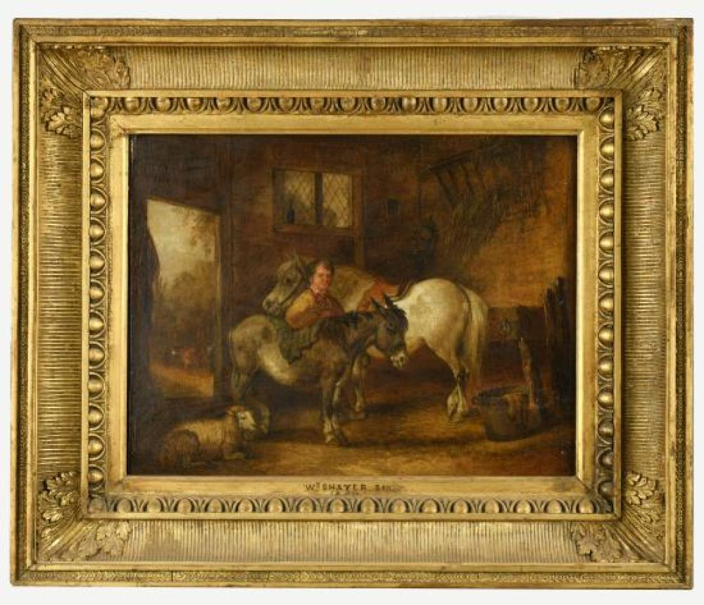 "William Shayer, Senior (British, 1787-1879) A farmer with a donkey, pony and sheep in a stable signed ""Shayer Sen"" lower right"