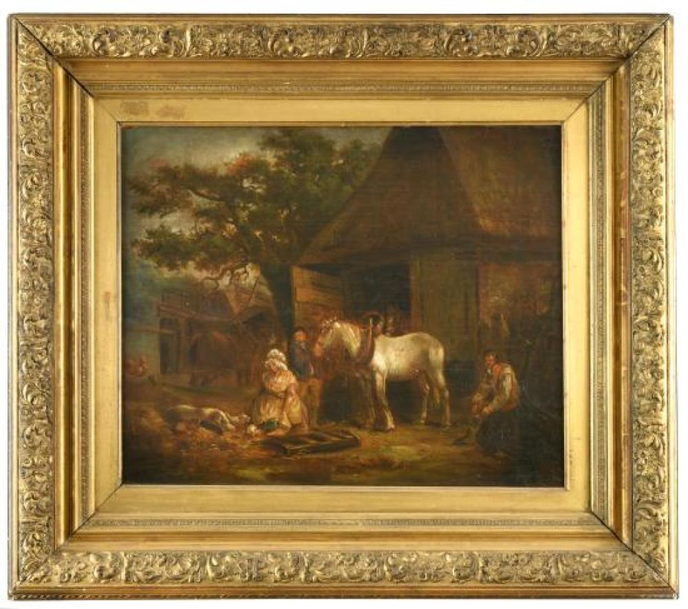 Follower of George Morland (British, 1763-1804) A heavy horse in a farmyard with a woman feeding pigs