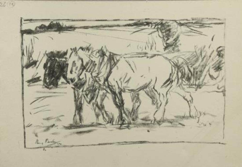 "Harry Becker (British, 1865-1928) Heavy horses, 1914 both signed lower left ""Harry Becker"" within the print"