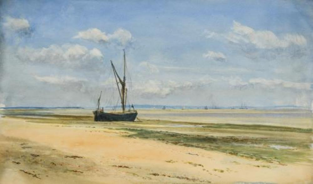 "William Lionel Wyllie, RA (British, 1851-1931) Seascape, Medway inscribed to the reverse in pencil ""This is a drawing made by W L Wy..."