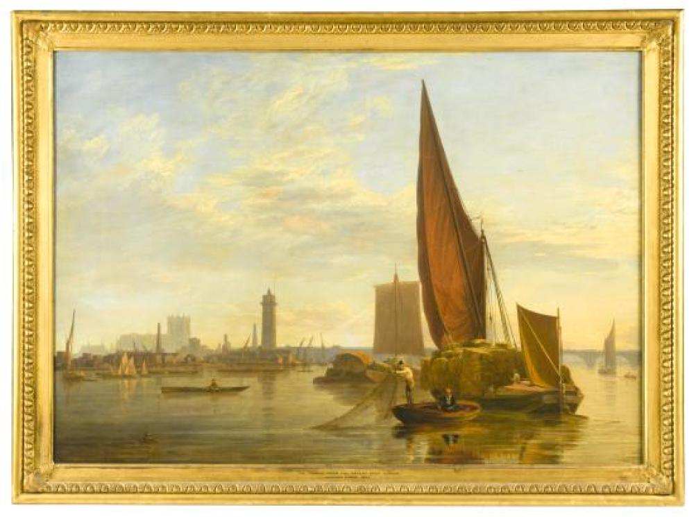Charles Deane (British, fl.1815-1851) View on the Thames near the Patent Shot Tower