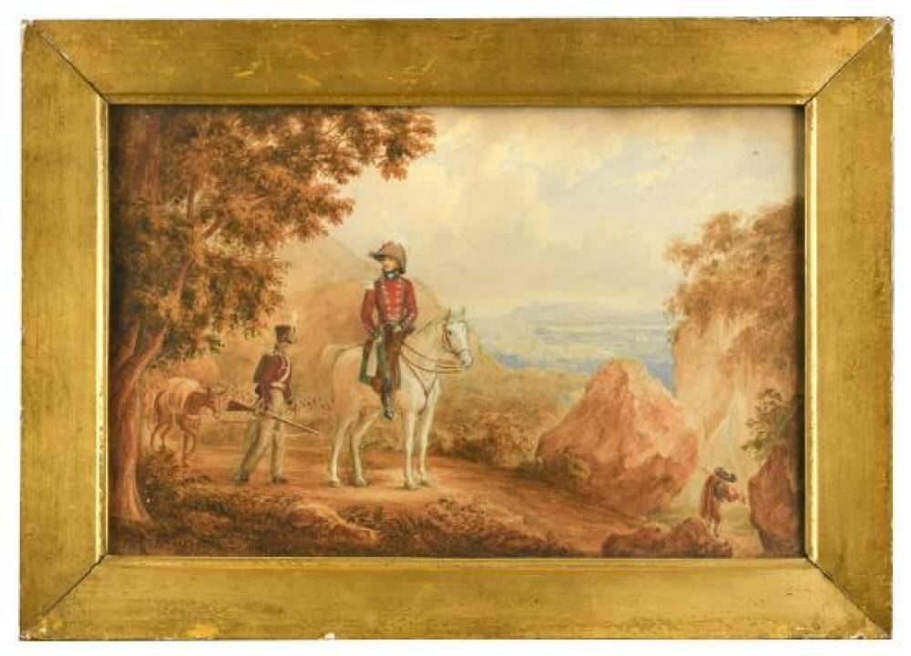English School, 19th Century A Peninsular War scene with an Officer, probably a member of the Dumaresq family, on a grey charger, an...