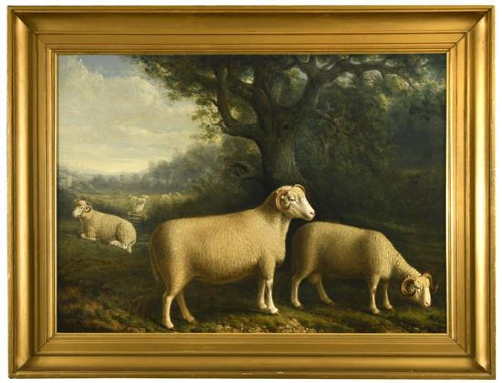 "William Shiels, RSA (Scottish, 1783-1857) Three Lonk rams in a landscape with ewes and a church beyond signed and dated lower left ""..."