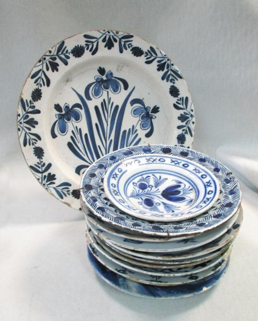 An 18th century Delft blue and white plate,
