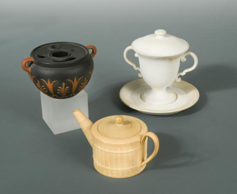 An 18th century miniature Wedgwood caneware teapot and cover,