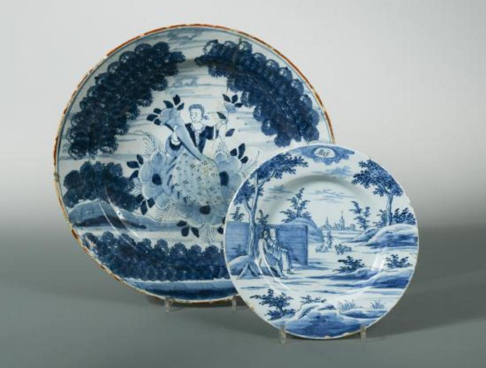 An 18th century Delft blue and white charger,