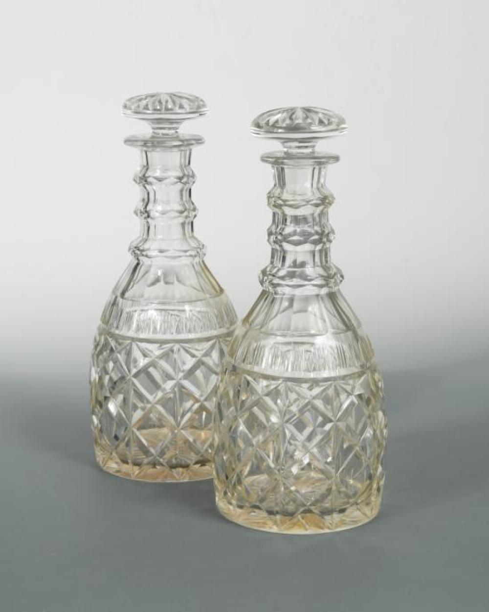 A pair of 19th century magnum decanters and stoppers,