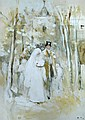 Frank Holl, RA, ARWS (British, 1845-1888) - The Country Wedding -  gouache