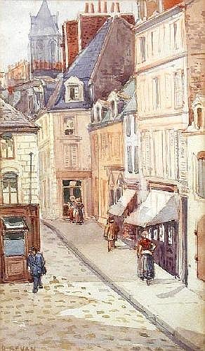 Robert Polhill Bevan (British, 1865-1925) From the Window of 85 Rue Adolphe Thiere looking towards the Fish Market, June '83 signed lower left R Bevan watercolour 22 x 13cm