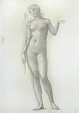 Sir Edward Coley Burne-Jones, RA (British, 1833-1898) Female Nude standing holding a lily - A Study for Love and Beauty - Romance of...